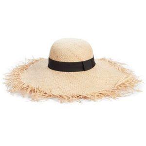 Raw edge straw floppy hat
